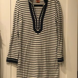 Navy and white striped Tory Burch tunic dress